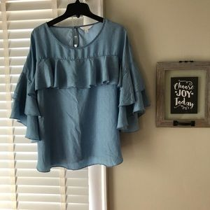 Lauren Conrad Blue Denim Ruffle Top
